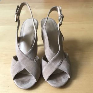 Michael Kors Dark Khaki Peep Toe Heels